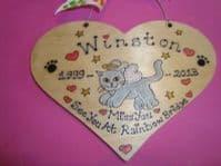 Cat Kitten Kitty Angel Memorial Heart Wooden Sign Personalised Plaque